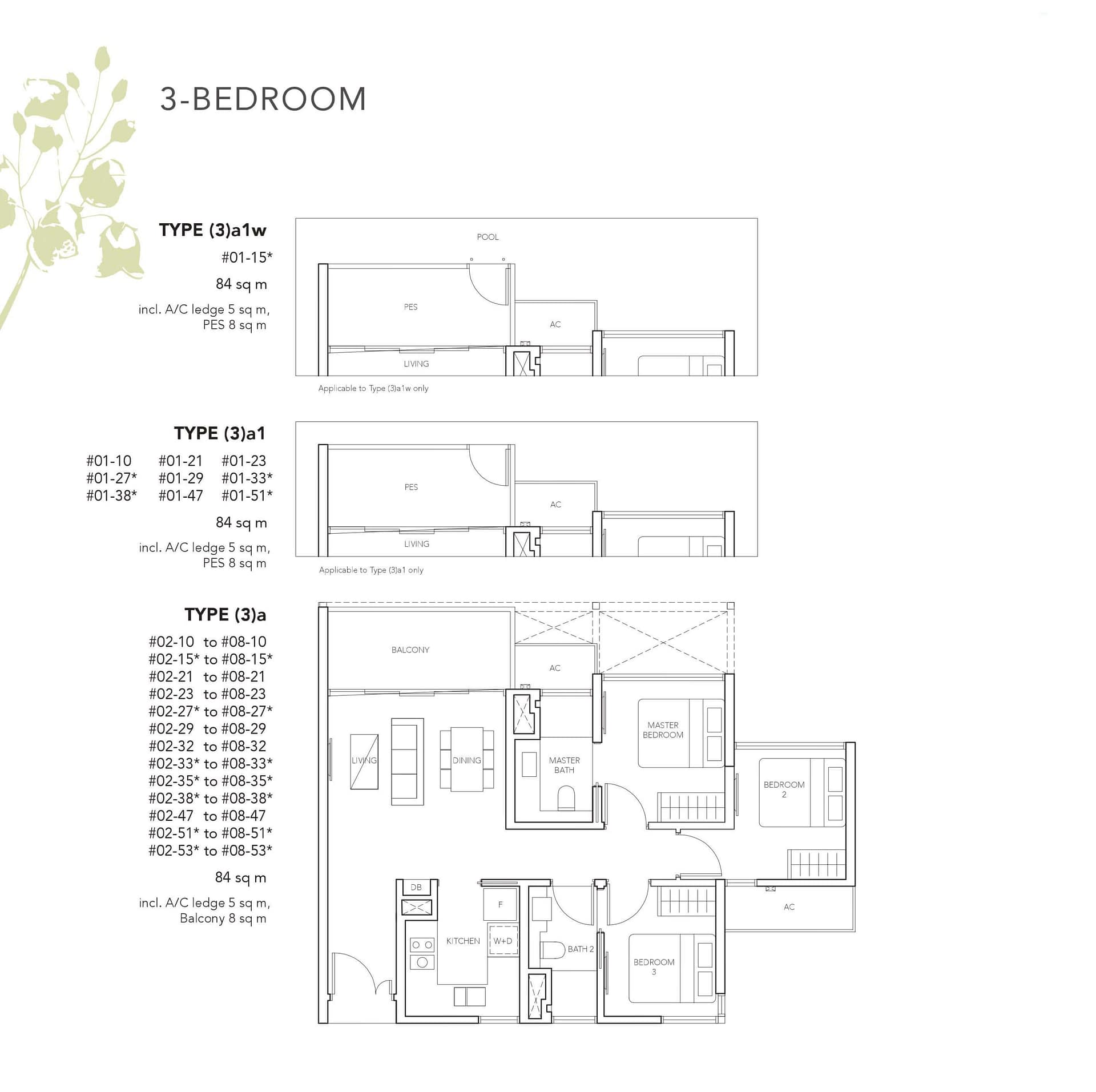 3 Bedrooms (with Study room)