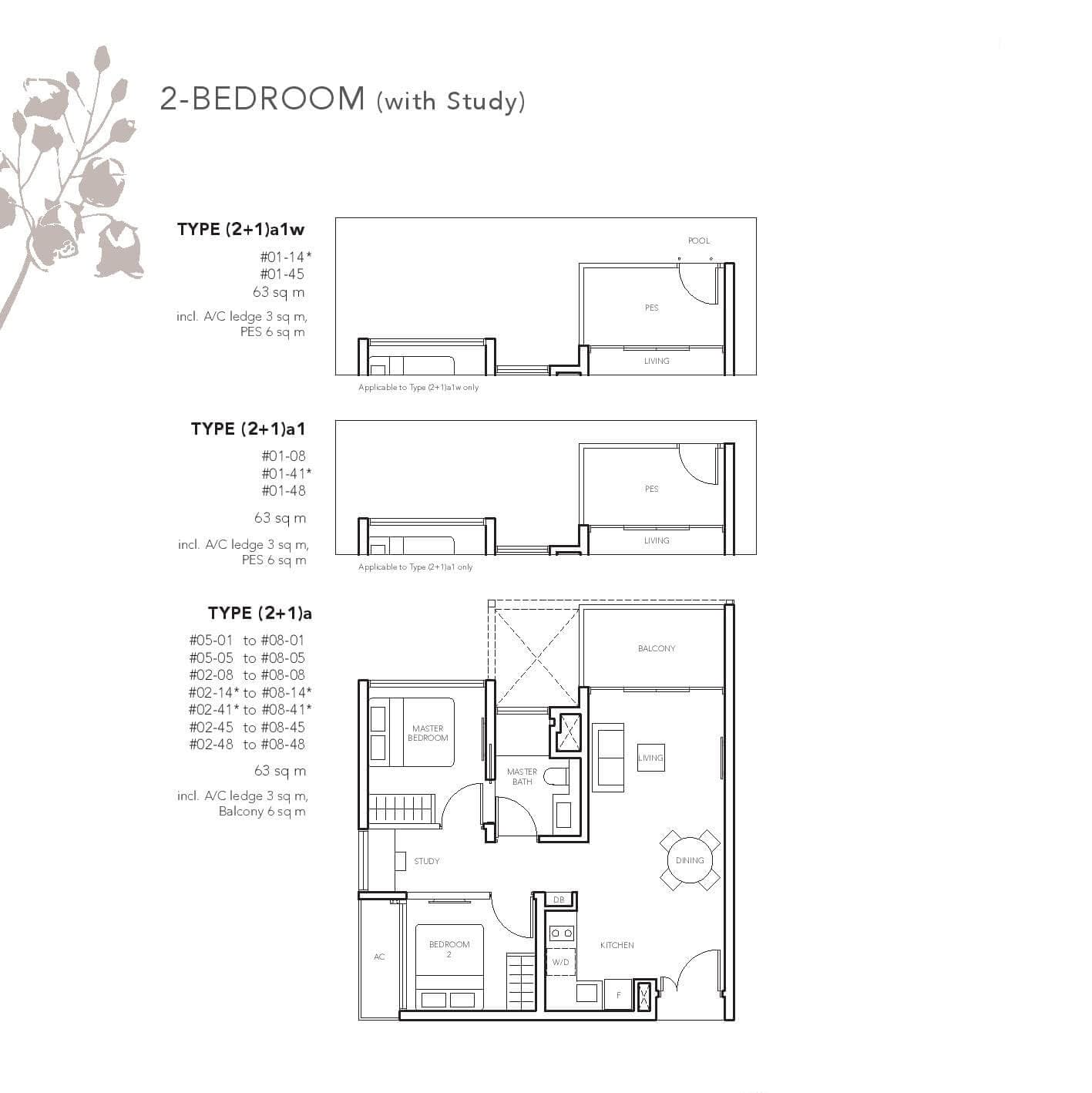 2 Bedrooms (with Study room)