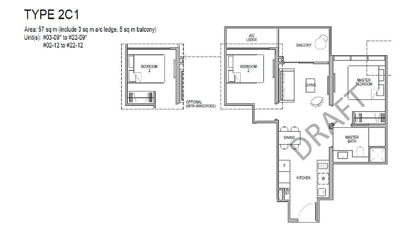 Kopar Floor Plans - Type 2C1